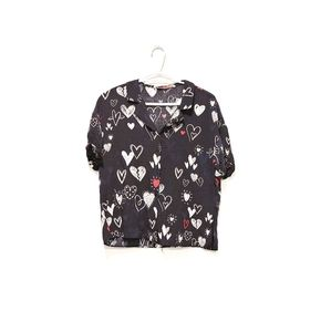 Zara Printed Heart Button Down Shirt in Black M